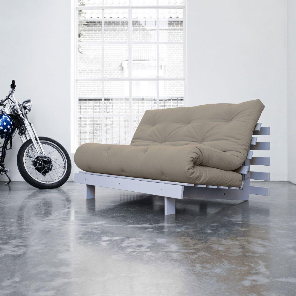 Divano letto futon roots karup singolo 1 piazza e mezza maxi in legno cool gray - Divano letto 1 piazza ...
