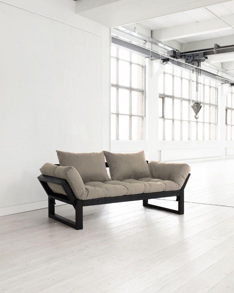 Divano letto futon edge karup in legno nero for Divano letto futon