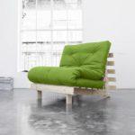 Poltrona Letto Futon ROOTS Karup in legno grezzo e futon LIME
