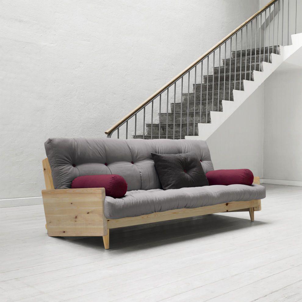divano letto futon indie karup in legno chiaro laccato